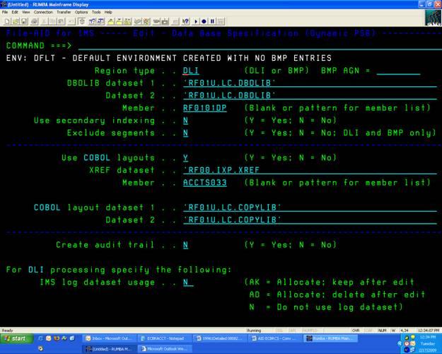 IMS DB FileAid Screen