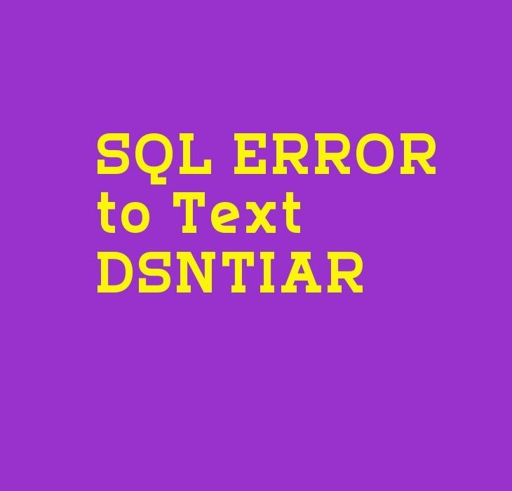 How to Convert an SQL Error Into Text Message