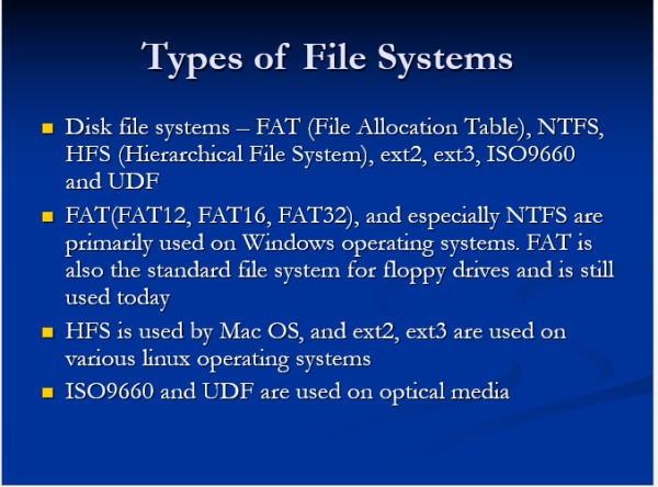 Types of file systems