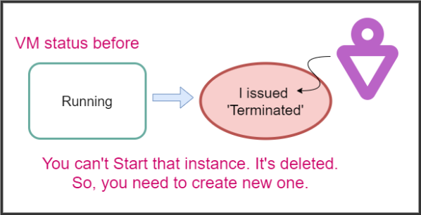 When you issue Terminate, the instance gets deleted. You can't start that machine.